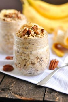 There is nothing like freshly baked banana bread but who has time? Make these Banana Bread Overnight Oats and you will have a healthy breakfast ready in no time!