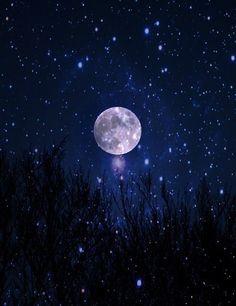 grafika moon, night, and stars