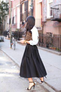 Leopard clutch + long midi skirt