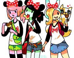 It's Fionna, Cake, Marceline the Vampire Queen, and Princess Bubblegum! Adventure Time Tumblr, Adventure Time Girls, Cartoon Crossovers, Cartoon Characters, Disney Princess Instagram, Adveture Time, Time Art, Pendleton Ward, Land Of Ooo