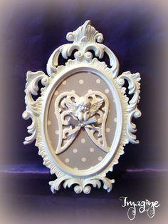 cadre baroque angelot gris/blanc