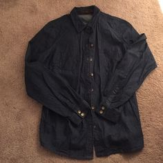 The limited dark chambray shirt Dark chambray. Full button front. Great with sleeves rolled up or down. The Limited Tops Button Down Shirts