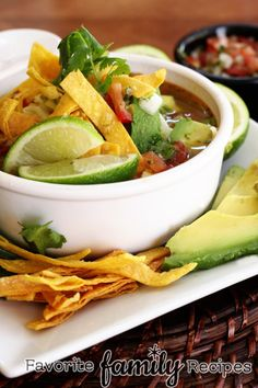 Copycat recipe of Cafe Rio's Chicken Tortilla Soup from FavFamilyRecipes.com
