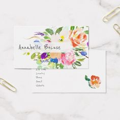 Watercolor Floral Bouquet Mixed Flowers Business Card