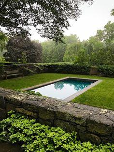 Longing for summer. The lovely, serene Connecticut pool & garden of landscape designer in February AD. Swimming Pools Backyard, Swimming Pool Designs, Pool Landscaping, Outdoor Pool, Outdoor Gardens, Outdoor Spaces, Landscape Design, Garden Design, Cool Pools