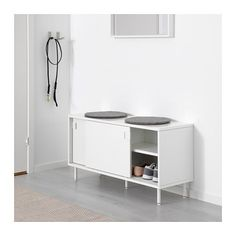 IKEA - MACKAPÄR, Bench with storage compartments, white, Ideal in smaller areas since the sliding doors save space. Ikea Entryway, Entryway Storage, Ikea Shoe Storage, Banquette Ikea, Ikea Storage Solutions, Ikea 2018, Ikea Bench, Ikea Canada, Bench With Storage