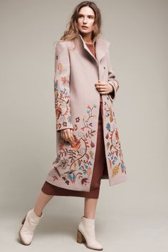 Slide View: 1: Aberdeen Embroidered Sweater Coat