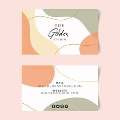Business card template with pastel-color. Free Business Card Templates, Free Business Cards, Corporate Event Design, Business Card Design, Branding Design, Logo Design, Vector Design, Identity Branding, Design Templates