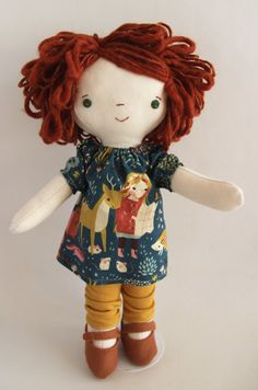 Maeve, a Wee Wonderfuls handmade original dress up doll