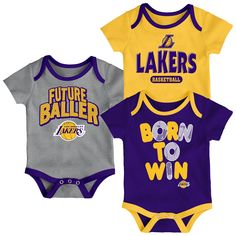 12b557db1d30 Your tiny fan can show off their Los Angeles Lakers pride three different  ways with this