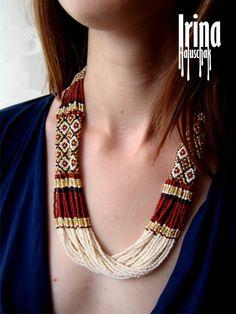 Folk Ukrainian necklace . Ukrainian Beads Neclace. Gerdan to