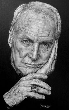 Pencil Portrait Mastery - Guapo en cuerpo y alma Paul Newman - Discover The Secrets Of Drawing Realistic Pencil Portraits
