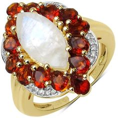 14K Yellow Gold Plated 4.54 Carat Genuine White Rainbow Moonstone, Citrine & White Topaz .925 Sterling Silver Ring