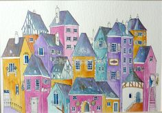 Houses in the village  An original painting by shelikesthis, £50.00