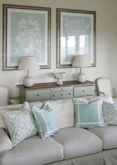 Like these colors together for master bedroom. Soothing - platinum, gray and blue.