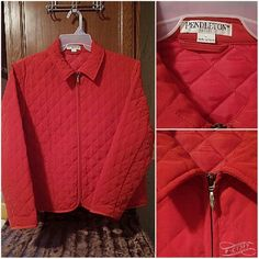 """Petite Large PENDLETON Zip Up Quilted Blazer Brand: Pendleton Size: Petite Large Large P Colors: Rusty Red Material: 100% Polyester Condition: Like New Condition  22"""" Armpit to armpit.  24"""" From shoulder to hem. Pendleton Jackets & Coats Blazers"""