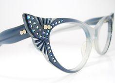 Vintage 50s Blue Cat Eye Eyeglasses or by Vintage50sEyewear