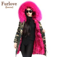 2017 nuevo Camuflaje de invierno chaqueta de las mujeres outwear parkas gruesas pelliccia natural bienes fox fur coat con capucha más tamaño