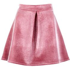 Boohoo Priya Bonded Velvet Pleat Front A Line Skirt (1.625 RUB) ❤ liked on Polyvore featuring skirts, a line midi skirt, pleated mini skirt, knee length a line skirt, a line skirt and pink maxi skirt