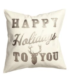 Check this out! CONSCIOUS. Cushion cover in woven organic cotton fabric with shimmering, printed Christmas motif at front. Solid-color backing, and concealed zip. - Visit hm.com to see more.