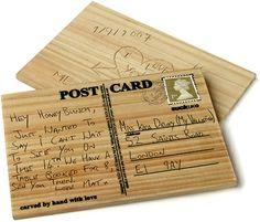 SAINT Valentine Day-craft idea-Handmade Wooden Postcard