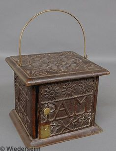 74: Carved oak foot warmer, early 19th c., with carved : Lot 74