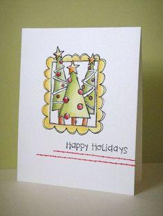 Donna Mikasa - Christmas Trees Doodle Frame Card