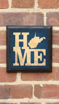 West Virginia HOME Vintage Style Plaque/Sign Decorative & Custom Color