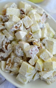 Apple Walnut Salad Recipe - This creamy dessert is full of fresh fruit and nuts. A healthy and filling treat at only 3 Weight Watchers points per serving! #WeightWatchers
