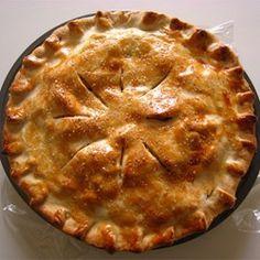 Apple Pie II - Allrecipes.com Use oj instead of apple juice, use half brown, half white sugar...and butter flaky pie crust