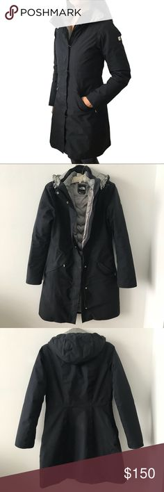 "North Face | Hyvent 75% Goose Down Coat Jacket Authentic North Face 75% Goose Down Fill Parka in Black. Superior warmth and comfort; lightweight insulation.  Original price $249.  Size S.  19"" pit to pit.  37"" length.  15.5 shoulder (seam to seam; from back).  Goose down interior layer can even be unzipped and worn without the fill.  This is an amazing, well-cared for item with a few minor scratches and wear. I have tried my best to photograph them all here. Slight wear on back seams (last…"