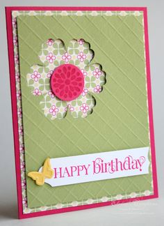 handmade birthday card ...  like the texture andnegative space from Blossom punch on the top layer ... pretty patterned paper shows through the punched space and around the edges ... good basic design ...