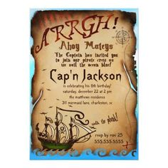 #Spring #AdoreWe #Zazzle - #Zazzle GC Pirate Birthday Party Invitation - AdoreWe.com