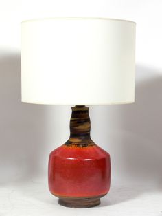 Deep orange, brown and yellow ceramic lamp, attributed to Marcello Fantoni  -  signed Raymor