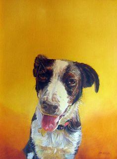 The Art of Emma Hesse. Love the dog's expression and the awesome background color. #dogart