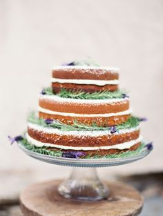 Naked Lavender #wedding cake http://weddingsparrow.co.uk/2014/07/22/intimate-peach-mint-inspired-real-wedding/