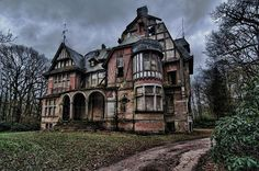 Chateau Notenboom II. Ruined now ... located near Brecht, Belgium. This beautiful mansion was the home for a German couple who fled Germany during the war. They lived in peace in Belgium and after the war they returned to their home in Germany and left this mansion behind.