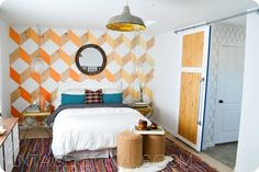Bedroom Makeover with a Fabulous DIY Accent Wall and DIY Sliding Barn Door @ Vintage Revivals
