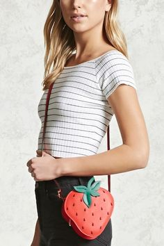 A textured faux leather crossbody featuring a strawberry design f5425c66797d7