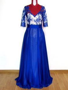 Silk Maxi Blue Dress with Lace and Open by AtelierAncaGrigoras Blue Dresses, Formal Dresses, Lace Dress, Silk, Trending Outfits, Vintage, Fashion, Dresses For Formal, Moda