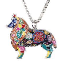 Brilliant & Rough Collie Dog Necklace