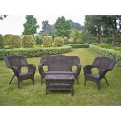 International Caravan Four-piece PVC Wicker/ Steel Outdoor Settee Group (Black), Size 4-Piece Sets, Patio Furniture (Iron)