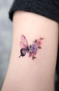 Butterfly And Flower Tattoo Cute Small Tattoos, Mini Tattoos, Tattoos For Women Small, Cute Tattoos, Body Art Tattoos, Tattoos For Guys, Sleeve Tattoos, Beautiful Tattoos For Women, Tattoo Drawings