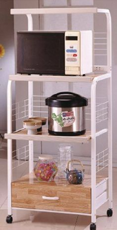 White Kitchen Rolling Microwave Cart With Strip By The Furniture Cove 110 00