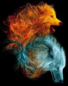 red and blue fantasy wolves
