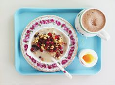 Whole grain spelt porridge w lingonberries and walnuts. Boiled egg and hot oat chocolate.