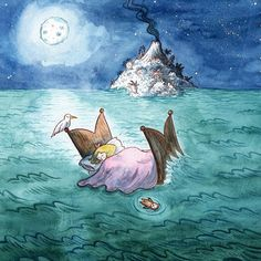That night Esmeralda's dreams were filled with the slushing of waves and the song of sea birds.  Finished scanning all my Little Kong book in today it's due to be published in January!  #childrensbook #kidlit #kidlitart #Littlekong #lemniscaat #picturebook #childrensillustration