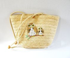 Vintage Rattan Owl Tote Straw Owl Tote Bag by HipCatRetroVintage