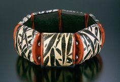 2003 Cuff Bracelet (red & bamboo), Gwen Gibson