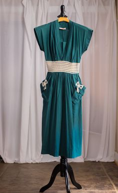 1940s Joan Miller Juniors Green Day Dress by SweetJubileeGirls